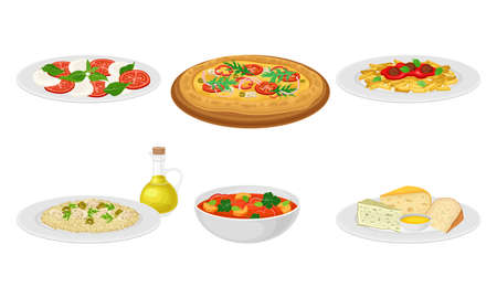 Italian Dishes with Pasta and Pizza Served on Plates Side View Vector Set