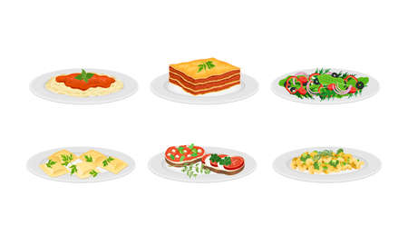 Italian Dishes with Pasta and Bruschetta Served on Plates Side View Vector Set Vettoriali