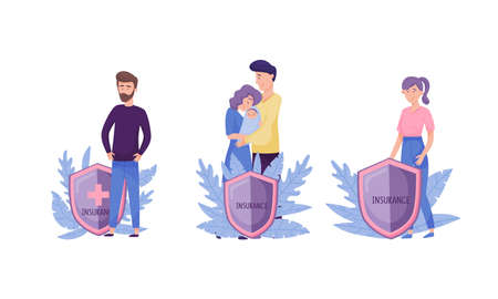 People Characters with Insurance Shield and Decorative Leaves Behind Vector Illustration Set Stock Illustratie