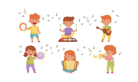 Happy Kids Playing Different Musical Instruments Vector Illustrations Set Vecteurs