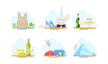 Paris Street Views with Eiffel Tower and Cathedral Church Vector Illustrations Set