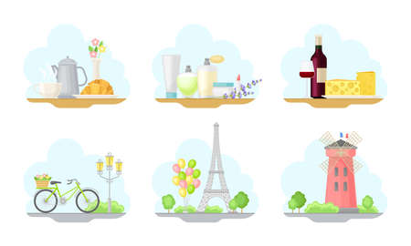 Paris Street Views with Eiffel Tower and Windmill Vector Illustrations Set