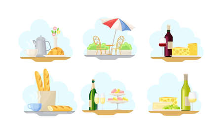 Paris Street Views with Macaron and Baguette Vector Illustrations Set