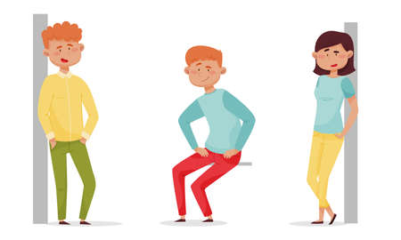 Men and Women Characters Standing Leaning on the Wall and Sitting Vector Illustrations Set