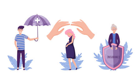 People Characters Walking Under Insurance Umbrella and Holding Shield Vector Illustration Set