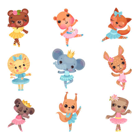 Cute Animals in Ballerina Dresses Dancing Vector Illustration Set Ilustração