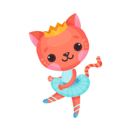 Cute Cat in Ballerina Dress and Crown on Head Dancing Vector Illustration Ilustração