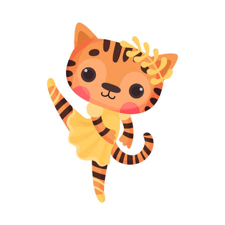 Cute Tiger in Ballerina Dress and Twig on Head Dancing Vector Illustration Illustration