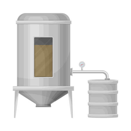 Tank with Malted Barley Lautering Process as Beer Production Vector Illustration