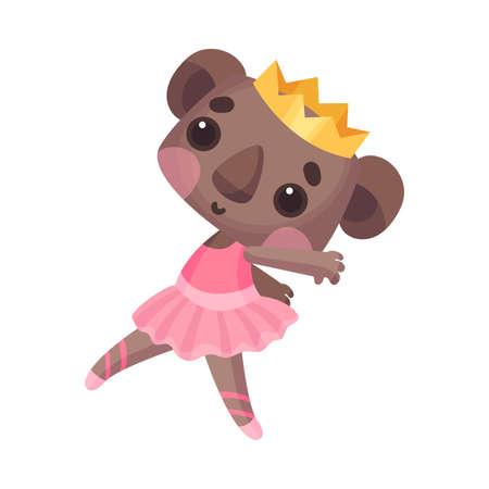 Funny Koala in Ballerina Dress and Crown on Head Dancing Vector Illustration
