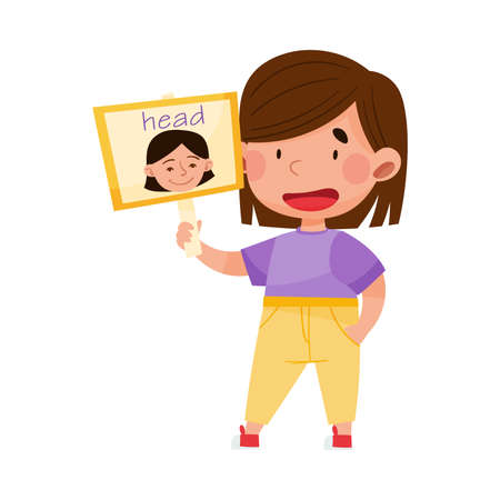 Smiling Girl Character Holding Flashcard with Head Image Vector Illustration Ilustración de vector