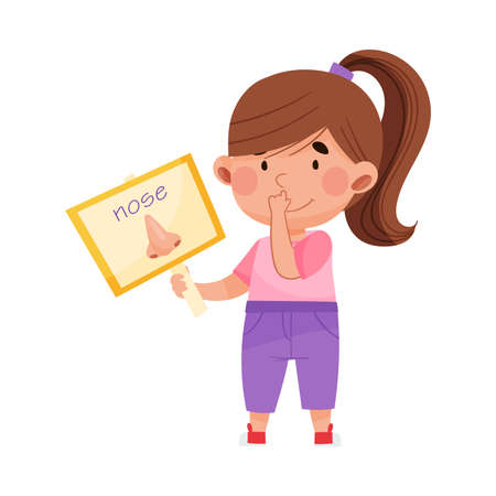 Cute Girl Holding Flashcard with Nose Picture Vector Illustration