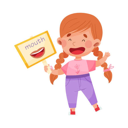 Smiling Girl Character Holding Flashcard with Mouth Image Vector Illustration
