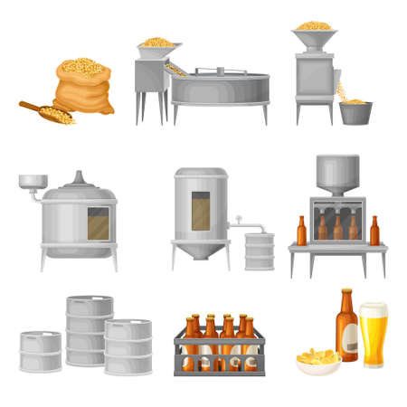 Beer Production with Cereal Grain Harvesting, Fermenting and Bottling Process Vector Illustration Set
