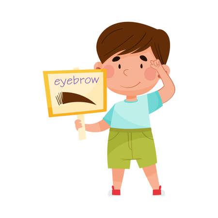 Funny Boy Holding Flashcard with Eyebrow Image Vector Illustration