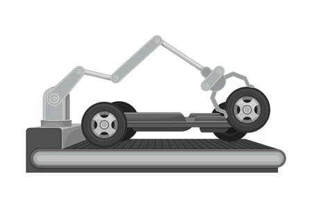 Robotic Arm Assembling Car Body as Auto Production Process Vector Illustration