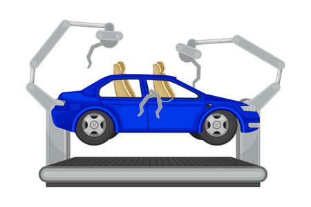 Metal Car Body Frame on Conveyor as Auto Production Assembly Line Process Vector Illustration