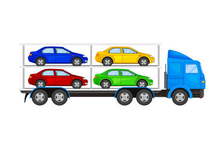 Car Transporter Truck with Autos for Retail Sales Vector Illustration