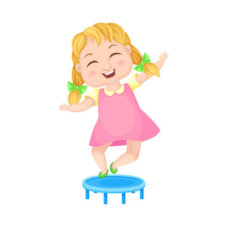 Girl Character with Braided Hairstyle Jumping on Trampoline Vector Illustration Vektorgrafik