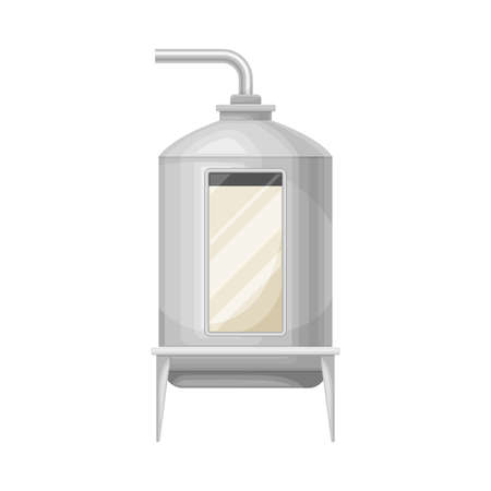 Metal Tank with Milk Souring Process in Cheese Production Vector Illustration
