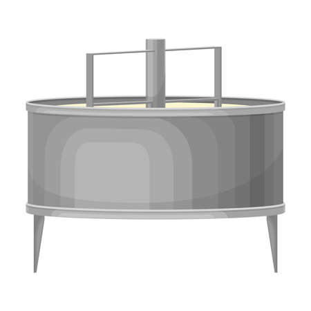 Curd in Metal Tank with Rotating Mixers as Cheese Production Vector Illustration 일러스트