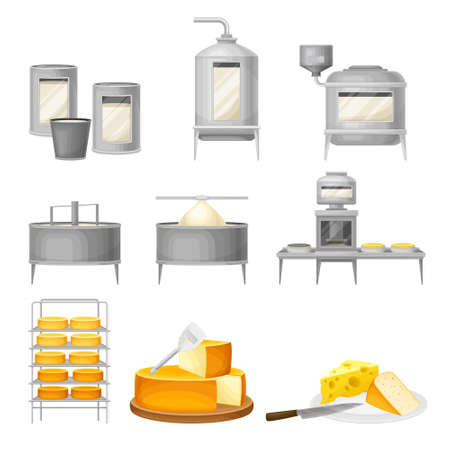 Cheese Production with Curdling and Ripening Stages Vector Set