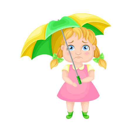 Girl Character with Ponytail Walking with Umbrella Vector Illustration