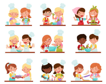 Cute Girl and Boy Chef Characters Wearing Apron and Hat Baking and Making Salad Vector Illustration Set