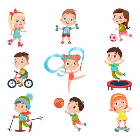 Cute Kid Characters Doing Sport Vector Illustration Set