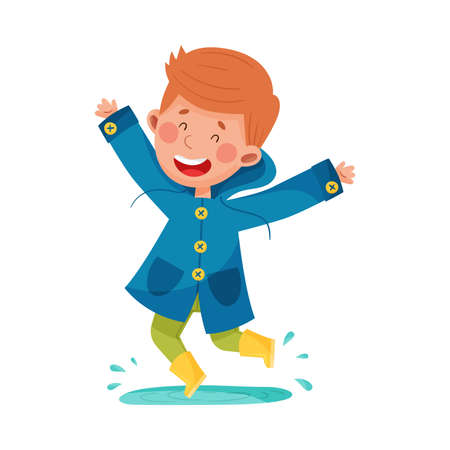 Joyful Boy Character in Rubber Boots and Raincoat Jumping in Puddle Vector Illustration Illustration