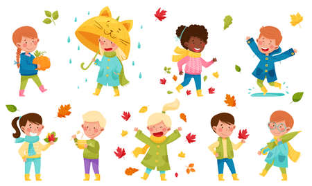 Children Characters Walking with Umbrella, Throwing Autumn Leaves and Picking Mushrooms Vector Illustration Set