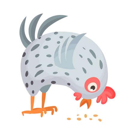 Feathered Hen as Farm Bird Pecking Grain Vector Illustration