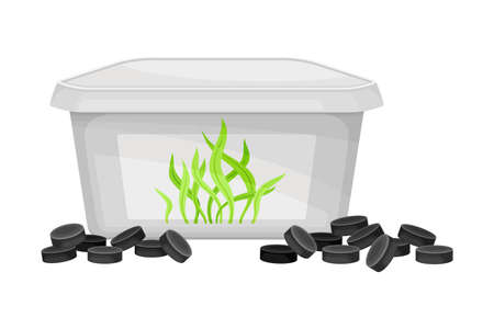 Sea Kelp in Tablets as Organic Fertilizer for Soil and Plant Growth Vector Illustration 向量圖像