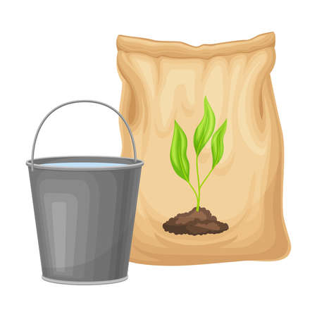 Water Bucket and Pack with Synthetic Fertilizer for Soil and Plant Growth Vector Illustration