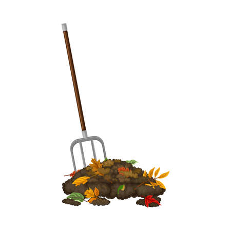 Pitchfork Gathering Topsoil with Foliage as Organic Fertilizer for Soil and Plant Growth Vector Illustration