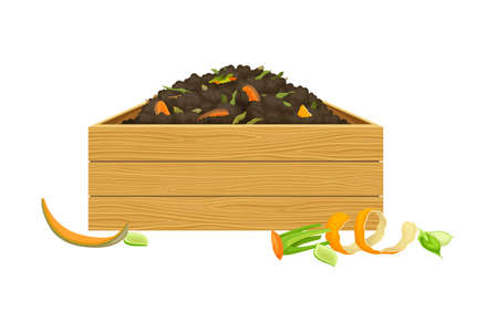 Rotten Vegetables Piled in Wooden Crate as Organic Fertilizer for Soil and Plant Growth Vector Illustration