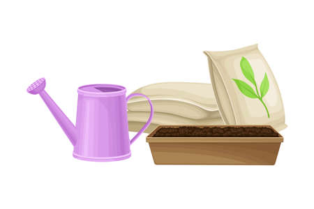 Watering Can and Pack with Synthetic Fertilizer for Soil and Plant Growth Vector Illustration