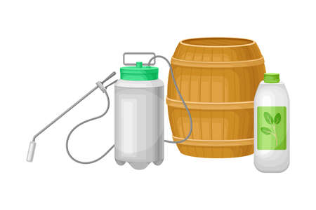 Pneumatic Sprayer with Fertilizer for Soil and Plant Growth Vector Illustration