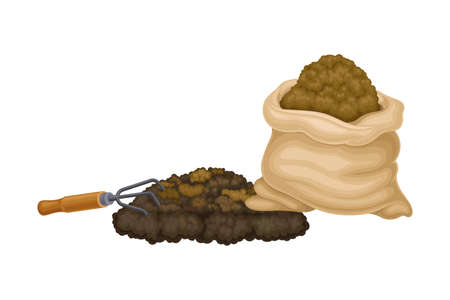 Sack of Topsoil with Dung as Organic Fertilizer for Soil and Plant Growth Vector Illustration
