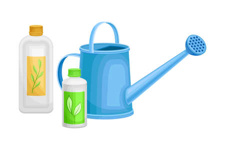 Watering Can and Bottles with Synthetic Fertilizer for Soil and Plant Growth Vector Illustration