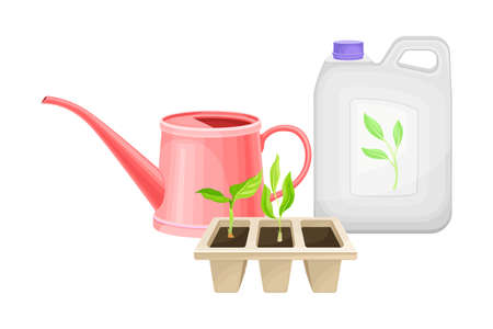 Can with Synthetic Fertilizer for Soil and Plant Growth and Watering Can Vector Illustration Vettoriali