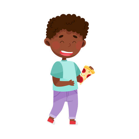 African American Boy Character Showing Like Towards Food Vector Illustration