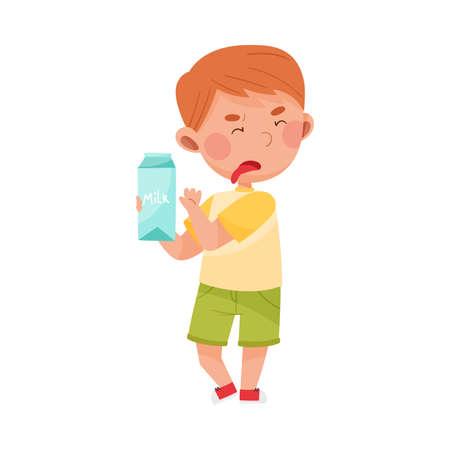 Unhappy Boy Character Showing Dislike Towards Carton of Milk Vector Illustration
