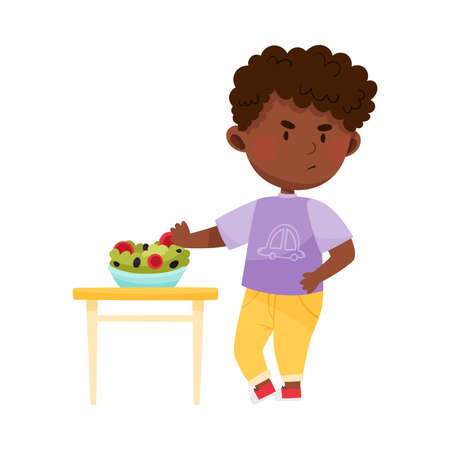 Unhappy African American Boy Character Showing Dislike Towards Vegetable Salad Vector Illustration Illustration