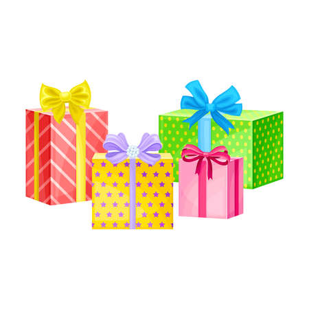 Gift Boxes Wrapped in Colorful Cover Paper and Tied with Ribbon Vector Illustration