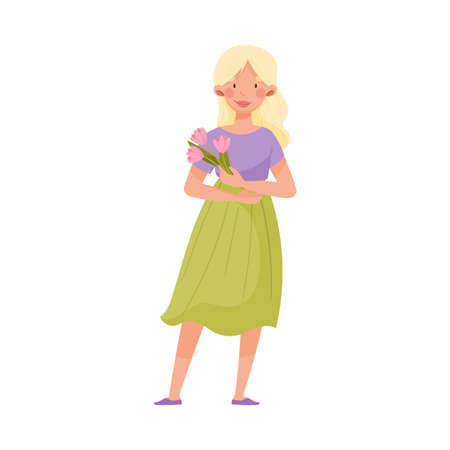 Young Woman with Blonde Hair and Summer Clothing Standing and Holding Flower Bouquet Vector Illustration