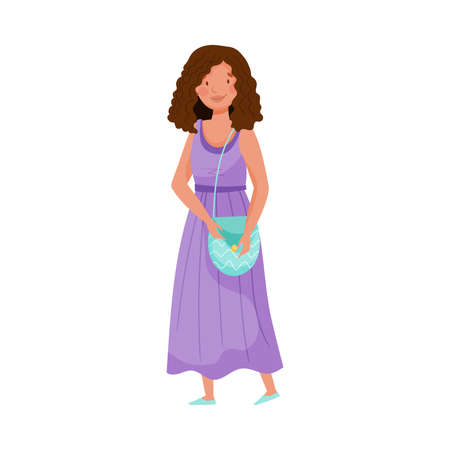Dark-haired Woman Wearing Long Dress and Bag Standing Vector Illustration