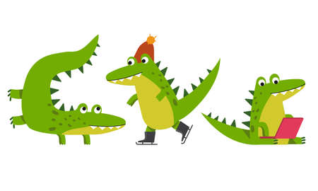 Cute Green Crocodile Sitting with Laptop and Figure Skating Vector Illustration Set