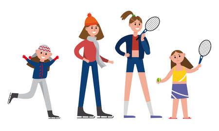 Woman Parent Spending Time Together with Her Daughter Vector Illustration Set