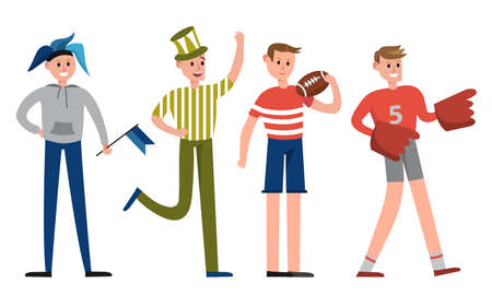 Man Characters Sports Fan Holding Flag and Waving Hand Vector Illustration Set
